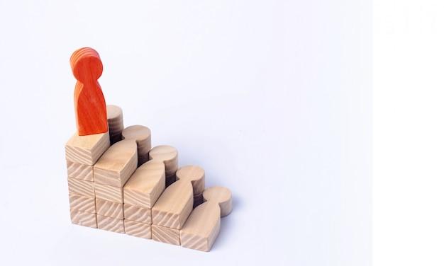 Een rode man staat aan de top van een sociale ladder of een carrièreladder