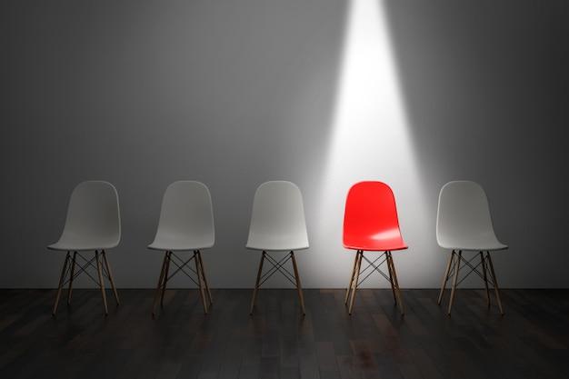 Een rode stoel onder fel licht. 3d render