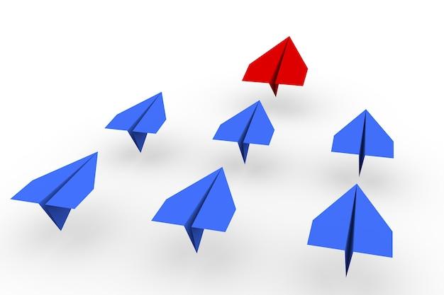 Een rood leidersvliegtuig leidt andere blauwe vliegtuigen naar voren