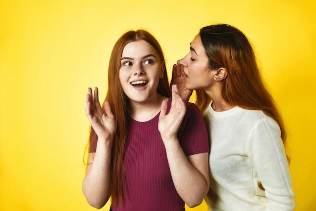 Een roodharig meisje fluistert tegen een ander kaukasisch meisje in het oor