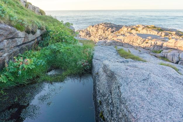 Een rotsachtige kust van de barentszzee, mageroyya island, noorwegen