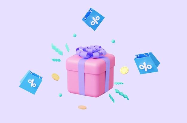 Een roze cadeau met abstracte elementen en vliegende pakketjes