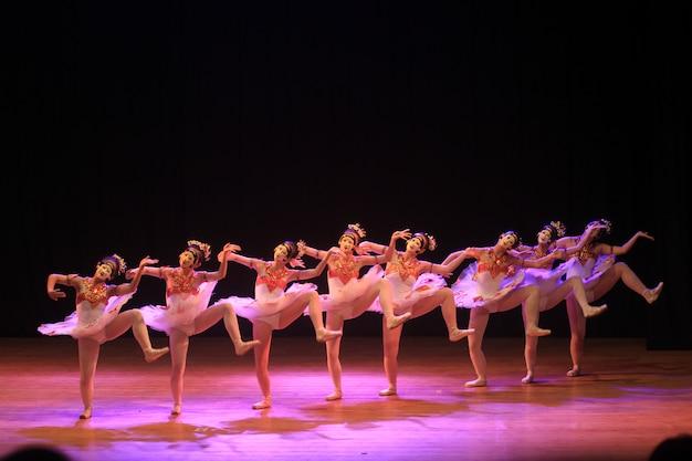 Een samenwerkende balletdansshow met traditionele maskerdans