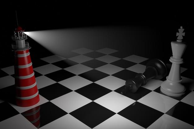 Een schaakspel komt tot een einde. de koning staat schaakmat. 3d-rendering zwart-wit schaakbord met dramatische verlichting.