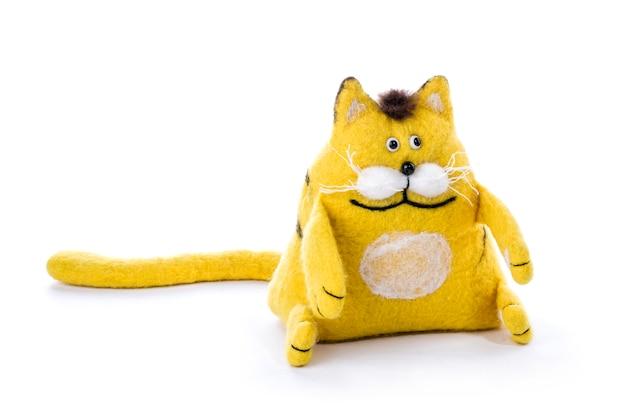 Een schattige gele kat knuffel