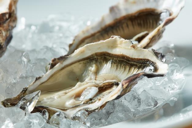 Een schotel met verse rauwe oesters op ijs op een terrasje.