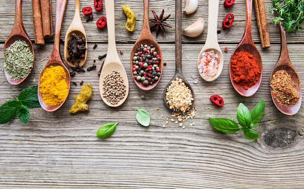 Een selectie van verschillende kleurrijke kruiden op een houten tafel in lepels
