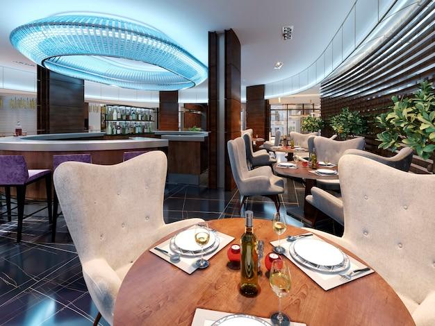Een serveertafel voor drie personen in een modern bar-restaurant. 3d-rendering.