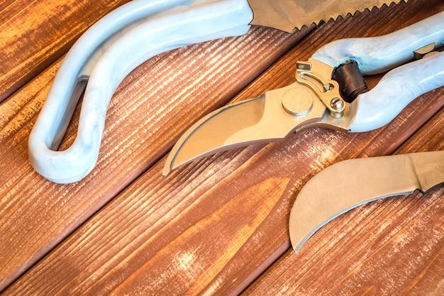 Een set gereedschap voor tuinders op vintage houten planken wordt voorbereid voordat de tuin in het voorjaar wordt gesnoeid