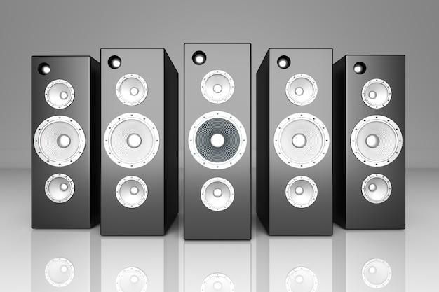 Een set luidsprekers. 3d teruggegeven illustratie.