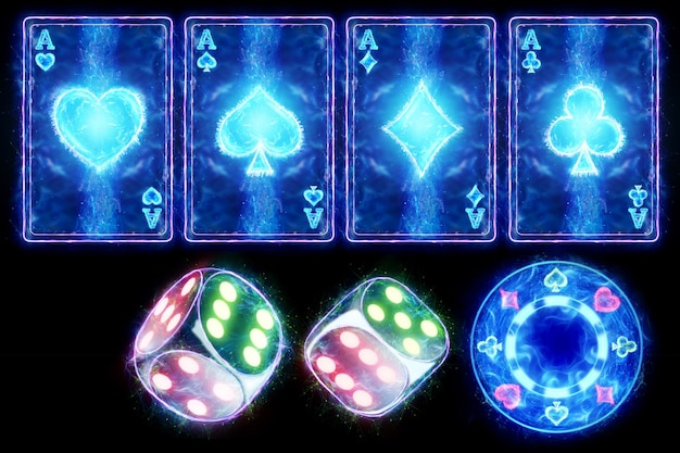 Een set neonkaarten azen van alle strepen, een neon casinochip en dobbelstenen. concept voor online casino, gokken, online geldspellen, weddenschappen. 3d illustratie, 3d render.
