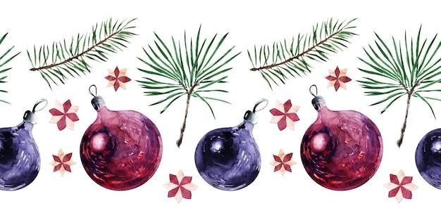 Een set van aquarel naadloze randen met kerstattributen speelgoed planten en linten