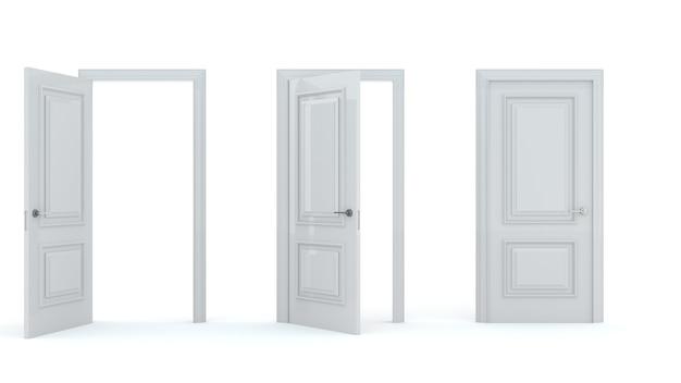 Een set witte houten deuren in verschillende stadia van opening