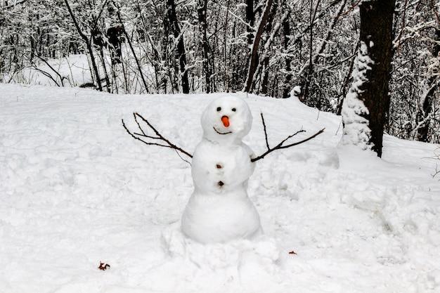 Een sneeuwpop in het winterbos. handgemaakt. detailopname