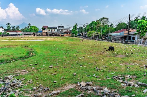 Een stad vol met degradatie en vervuiling die wordt veroorzaakt door mensen