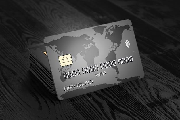 Een stapel bankkaarten. creditcard met wereldkaart op een donkere houten achtergrond. betaalsysteem. online betalingen. 3d render.