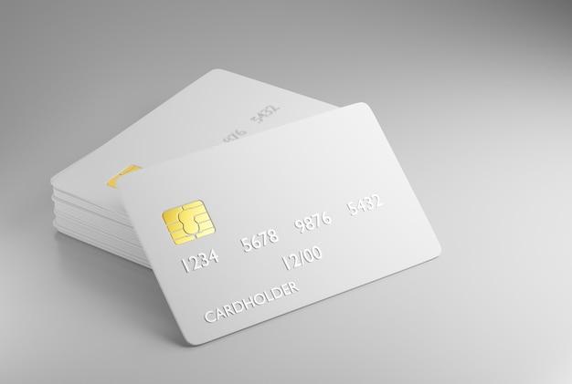 Een stapel bankkaarten met een chip. blanco creditcardsjabloon voor uw ontwerp. 3d-weergave.