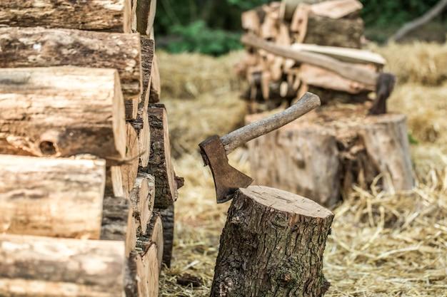 Een stapel gestapelde boomstammen en een bijl