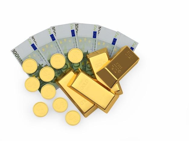 Een stapel goudstaven en munten op een fan van eurobiljetten