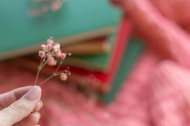 Een stapel rode en groene boeken met droge bloemen op een roze warme gebreide trui
