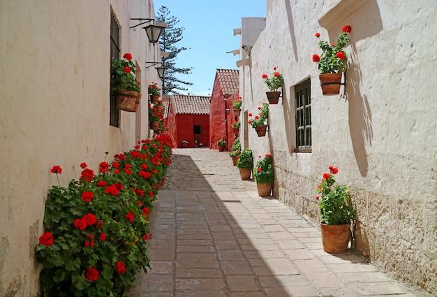 Een steegje vol met rood bloeiende struiken en terracotta plantenbakken die aan de oude bouwmuren hangen