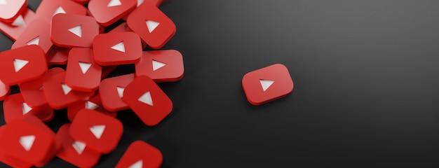 Een stel youtube-logo's op zwart