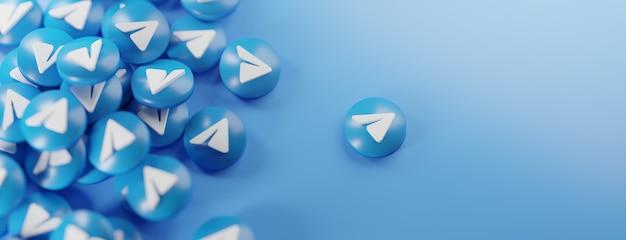 Een stelletje telegram-logo's op blauw