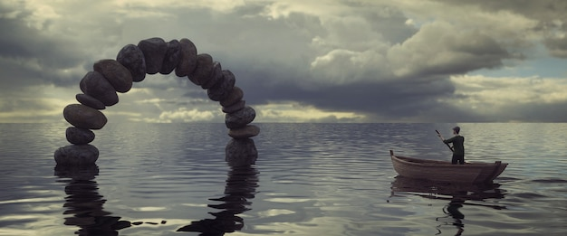 Een stenen boog in het midden van de zee met een man in een boot op de grijze hemelachtergrond, 3d-weergave