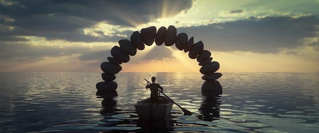 Een stenen boog met een boot die er doorheen gaat, 3d-rendering