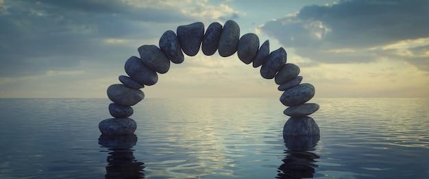 Een stenen boog op het water, 3d-rendering