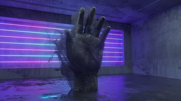 Een stenen menselijke hand die miljoenen deeltjesstromen uitstraalt in een toekomstige sciencefictionkamer met moderne neonverlichting. abstracte 3d illustratie