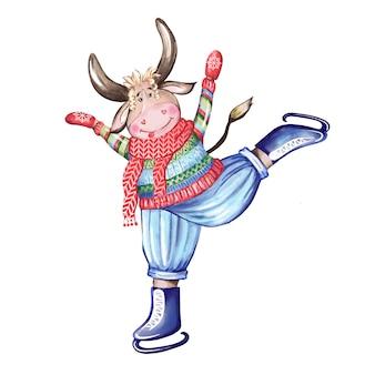 Een stier op kunstschaatsen houdt zich bezig met kunstschaatsen. handgetekende aquarel illustratie