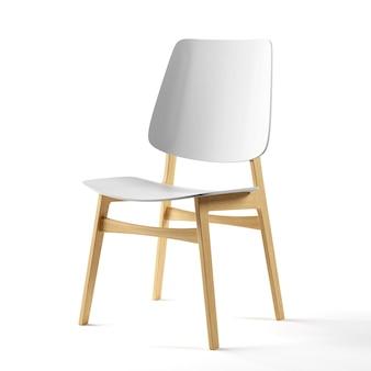 Een stoel gemaakt van hout en wit plastic staat op een witte achtergrond.