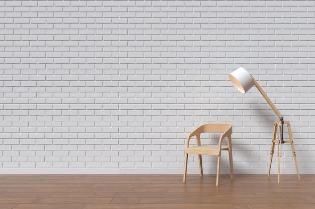 Een stoel met houten muur en lamp