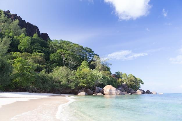 Een strand op het eiland van de seychellen met wit zand en stenen