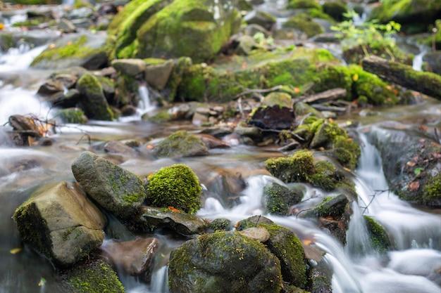 Een stroom in een bergbos stroomt door watervallen van stenen.