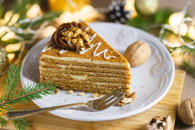 Een stuk kerst cake