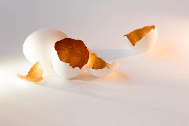 Een symbool van nieuw leven, eierschalen. decoratieve, gouden kleur aan de binnenkant