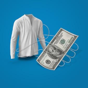 Een t-shirt geeft je een geldbeloning of cashback van winkelen met thread-achtige handen
