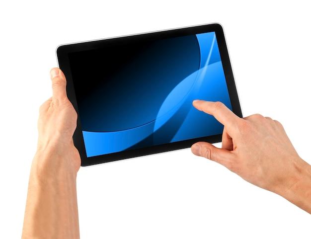 Een tablet op de witte achtergrond