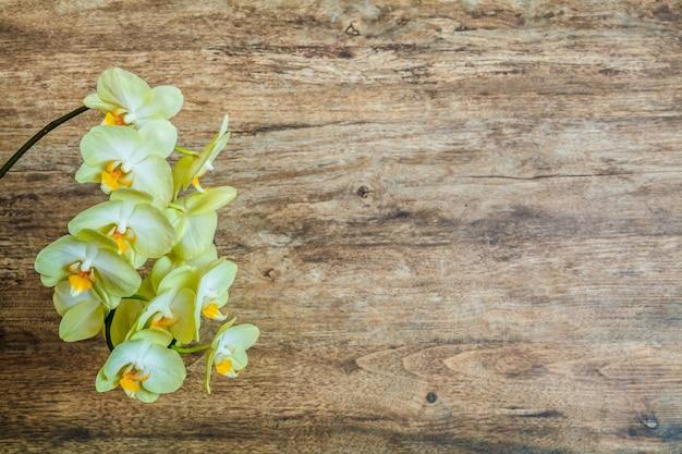 Een tak van gele orchideeën op een bruine houten achtergrond. kopieer ruimte