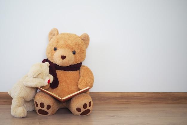 Een teddybeer leest een boek voor een andere teddybeer.