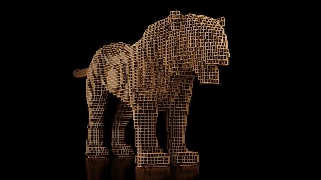 Een tijger gemaakt van veel kubussen op een zwarte uniforme achtergrond. constructeur van kubieke elementen. kunst van de wilde dierenwereld in moderne performance. 3d-rendering.