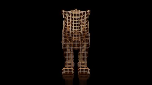 Een tijger gemaakt van vele blokjes op een zwart uniform