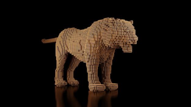 Een tijger gemaakt van vele kubussen op een zwarte uniforme ruimte. constructor van kubische elementen. kunst van de wilde dierenwereld in moderne uitvoering. 3d-weergave.