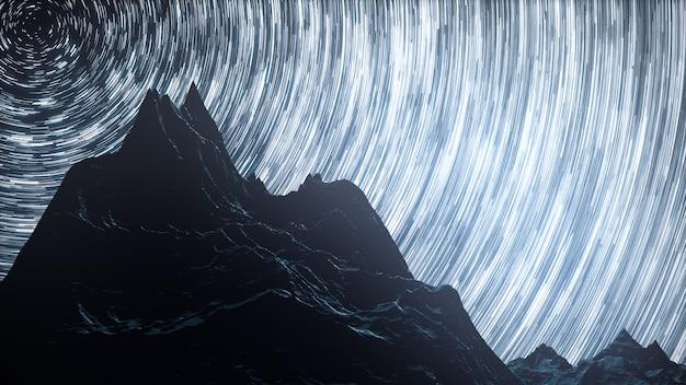 Een time-lapse van een sterrennacht met een schaduw van bergen