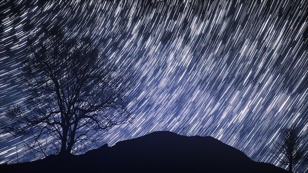 Een time-lapse van een sterrennacht met een schaduw van een boom