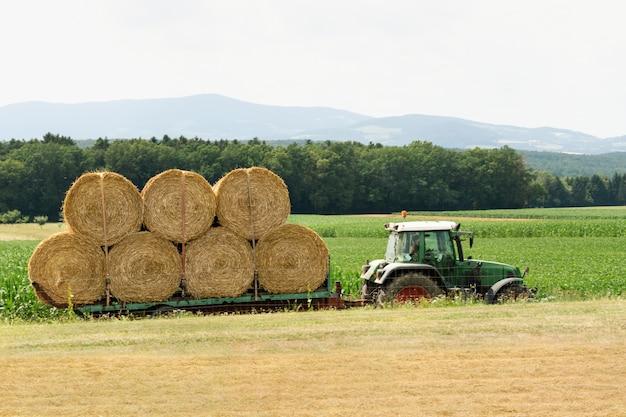 Een tractor rijdt op een weg te midden van velden en draagt balen hooi voor opslag.