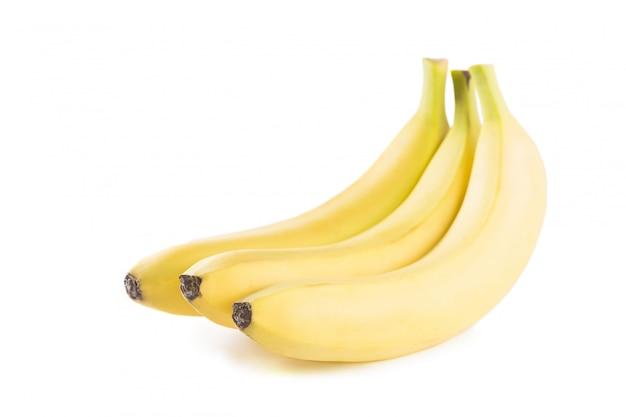 Een tros bananen op een witte achtergrond