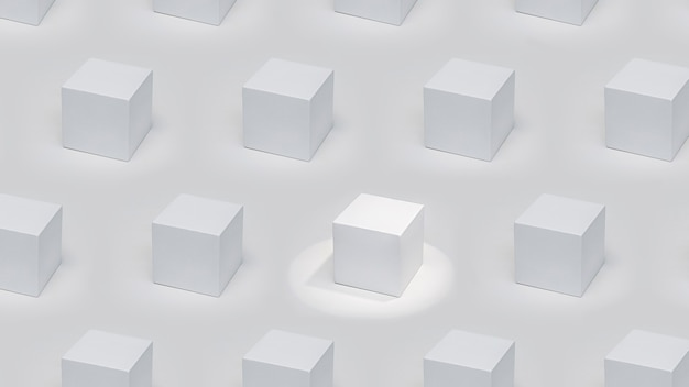Een uitstekend wit kubisch podium in accentverlichting tussen podia in dezelfde verlichting